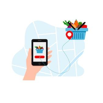 Food delivery of vegetables through the application on the phone