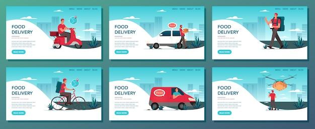 食品配送webバナーセット。オンライン配信のコンセプトです。インターネットで注文します。カートに追加し、カードで支払い、原付の宅配便を待ちます。食品配達ウェブサイトのコンセプトです。