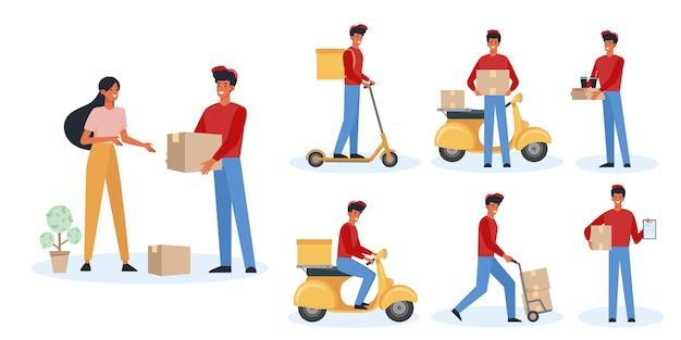 フードデリバリーマンフラットイラストセット。スクーターと徒歩で小包を配達する楽しい宅配便。