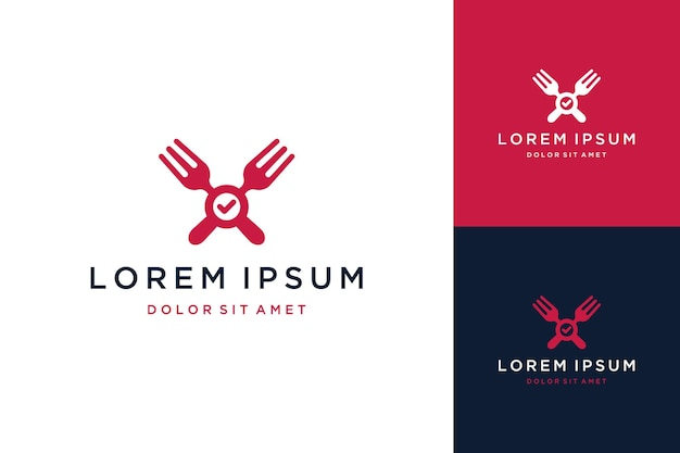 Food design logos or forks with a check mark