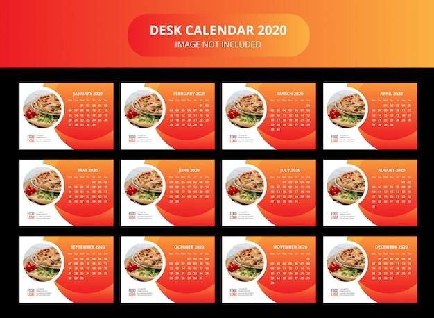 Food desk calendar 2020 template