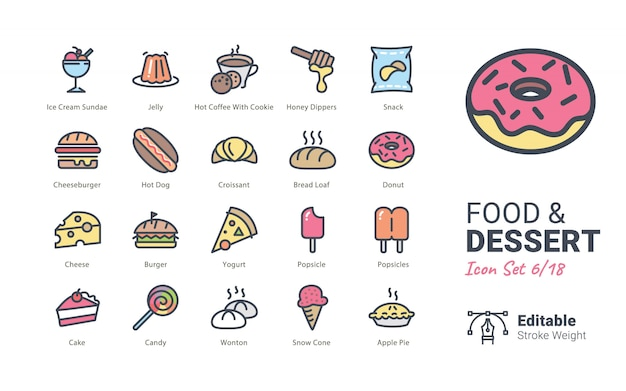 Food & dessert vector icons collection