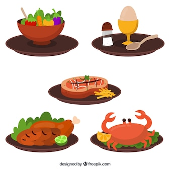 Food dish collection with flat deisgn