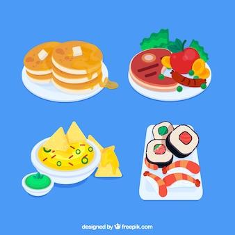 플랫 deisgn와 음식 접시 모음