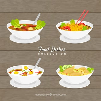 Food dishes collection in 2d style