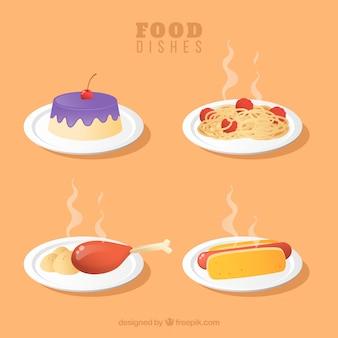 Коллекция блюд из блюд в стиле 2d