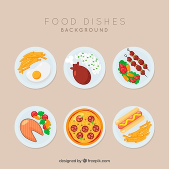 Food dishes collection with flat design