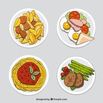Коллекция блюд из блюд с видом сверху