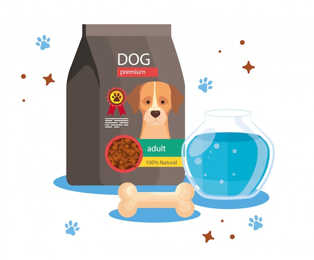 Food for dog in bag with round glass fish bowl and bone