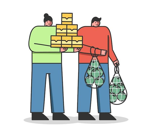 食品の寄付とショッピングのコンセプトボランティアの男