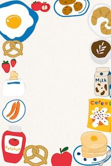 Рамка каракули еда на бежевом фоне