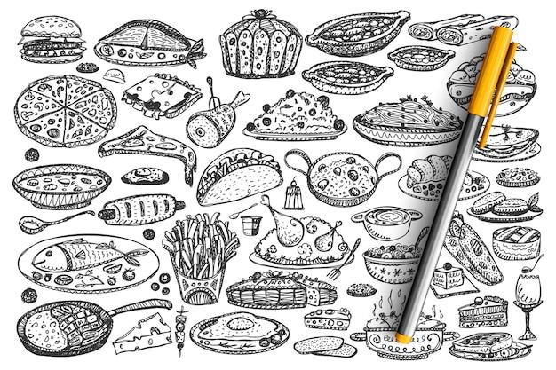 食べ物落書きセット。手描きの様々な種類の食事料理のコレクション