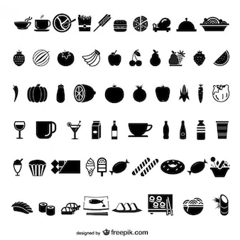 Food and drink black icon set