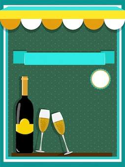 Food and drink concept with champage and glasses on green background.