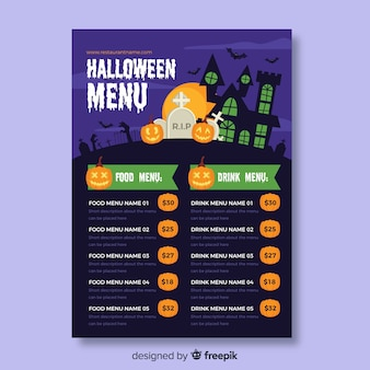 Food and drink halloween menu template