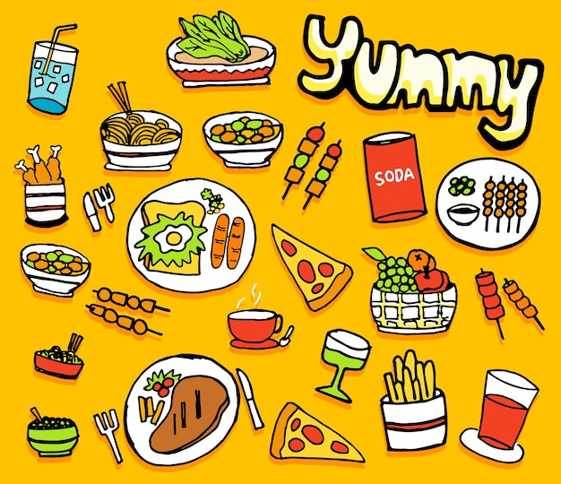 Food and drink icons set illustration isolated on yellow background, hand drawn .
