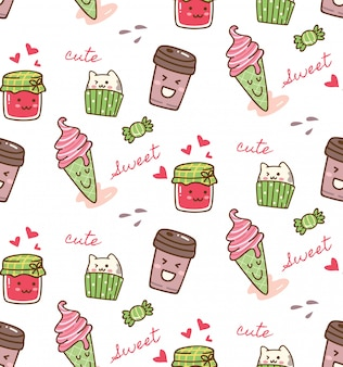 Food and drink kawaii pattern
