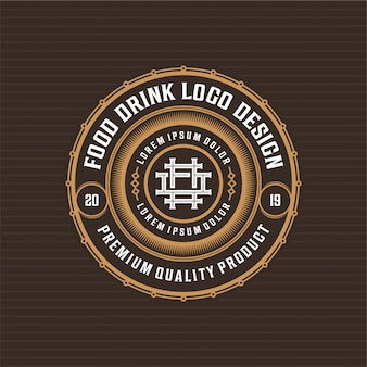 Food and drink logo badge design for restaurant