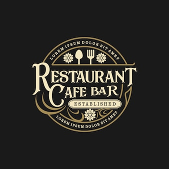 Food drink logo in vintage style restaurant and cafe bar
