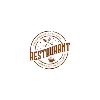 Food drink logo, vintage style restaurant and cafe bar