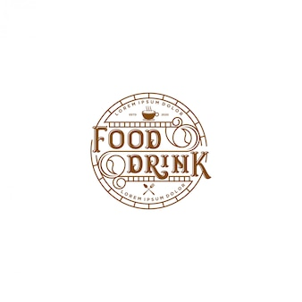 Food drink logo - vintage style restaurant and cafe bar