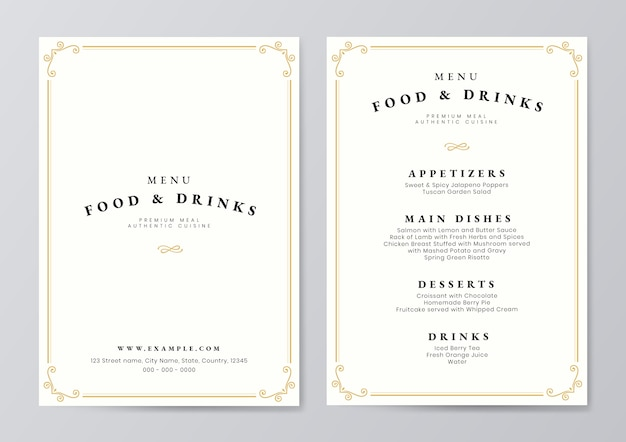 Food and drink menu template vector