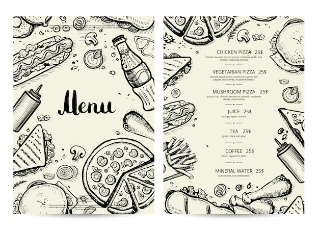 Food and drink menu  with prices