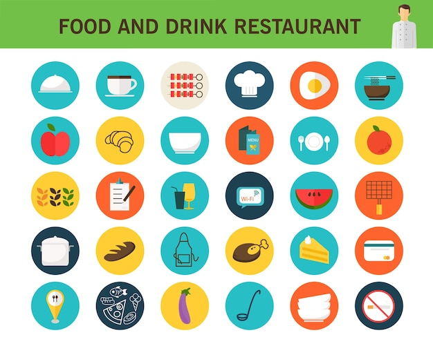 Food and drink restaurant consept flat icons.