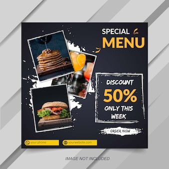 Food and drink sale banner template for instagram post