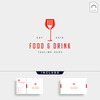 Food and drink simple flat logo illustration icon element
