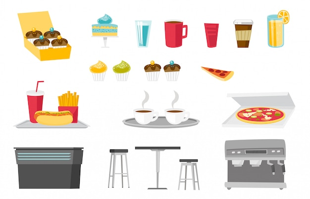 Food and drinks cartoon set