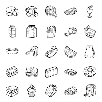 Food and drinks hand drawn icons pack