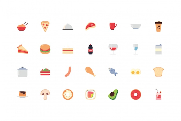 Food and drinks icon set pack