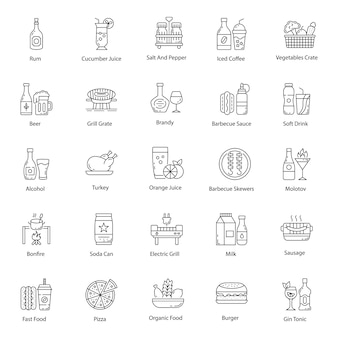 Food and drinks line pack icons pack