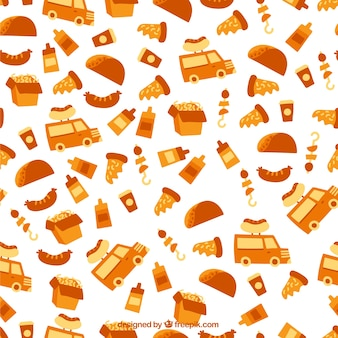 Food elements pattern in orange color