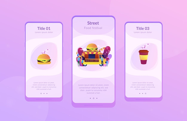 Food festival app interface template.