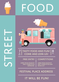 Food festival invitation poster with ice cream truck