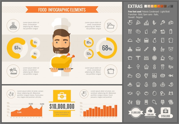 Food flat design infographic template and icons set