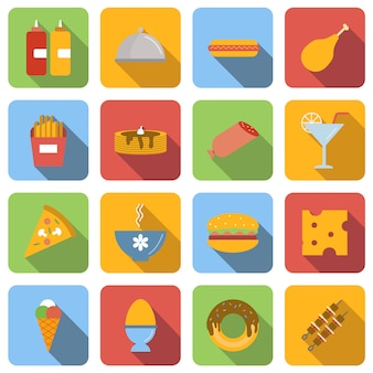 Food flat icons set images with long shadow in square