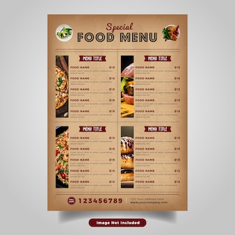 Food flyer menu template. vintage fast food menu  for restaurant