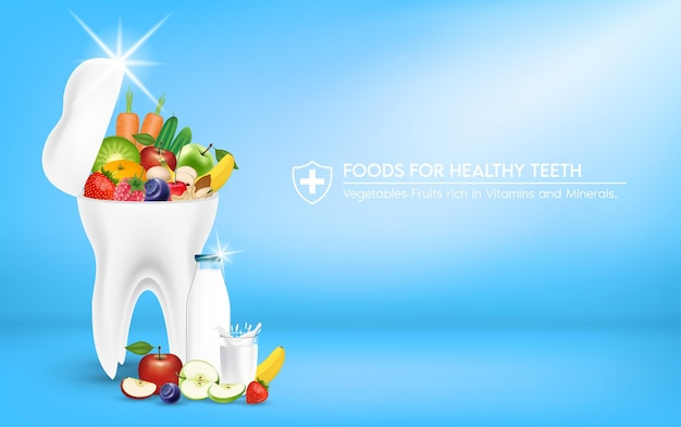 Пища для здоровых зубов здоровая улыбка белый блеск зуба овощи фрукты, богатые витаминами, минералами