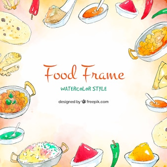 Food frame background in watercolor style