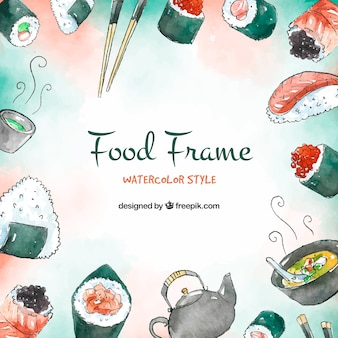 Food frame background with sushi