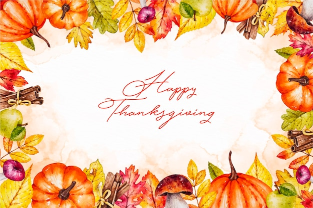 Food frame watercolor thanksgiving background
