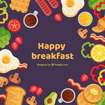 Food frame with breakfast