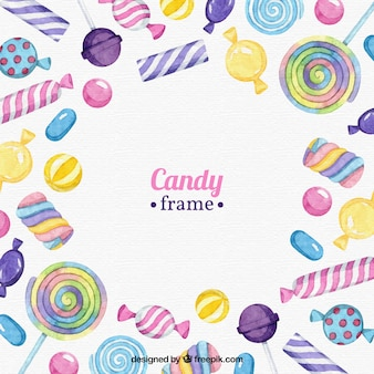 Food frame with colorful candies