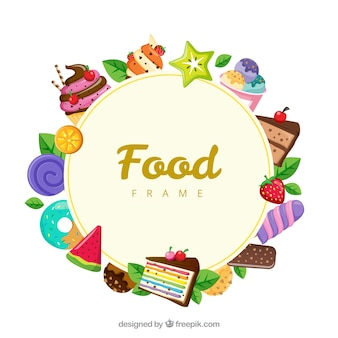Food frame with desserts