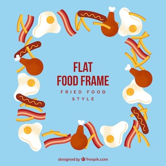 Food frame with fried