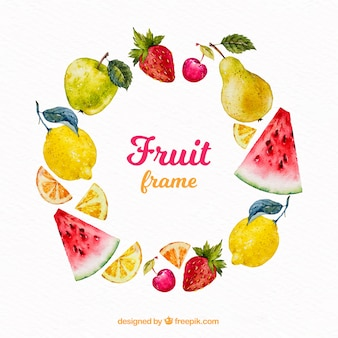 Food frame with fruits in watercolor style