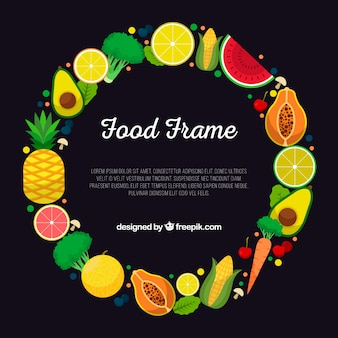 Food frame with fruits and vegetables